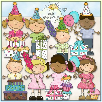 Bean Pole Kids: Birthday Clip Art - CU Colored Clip Art
