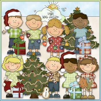 Bean Pole Kids: Christmas Clip Art - CU Colored Clip Art