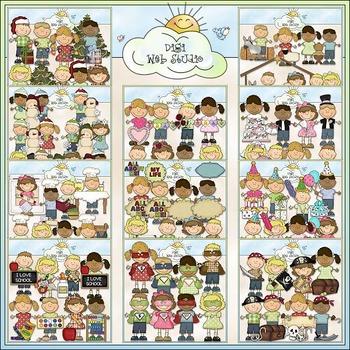 Bean Pole Kids Clip Art Bundle - 11 Colored Clip Art Sets