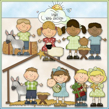 Bean Pole Kids Clip Art Bundle - 11 Colored Clip Art Sets