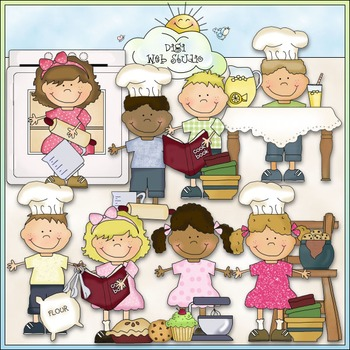Bean Pole Kids: In The Kitchen Clip Art - CU Colored Clip Art