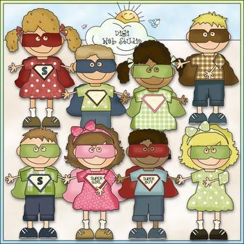 Bean Pole Kids: Superheroes Clip Art - CU Colored Clip Art
