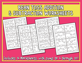 Bean Toss Addition & Subtraction Worksheets