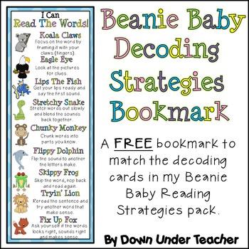 Beanie Baby Decoding Strategies Bookmark Freebie
