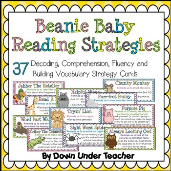 Beanie Baby Reading Strategy Cards - Decoding, Comprehension, Fluency & Vocab