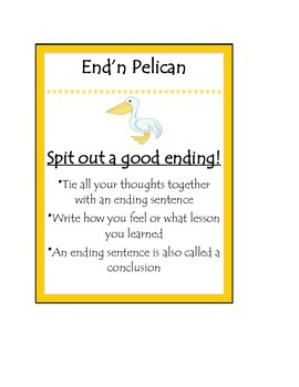 Beanie Baby Writing Poster End'n Pelican