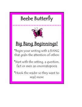 Beanie Baby Writing Strategy Beebe Butterfly Big Bang Beginnings