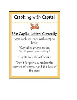 Beanie Baby Writing Strategy Crabbing with Capitals