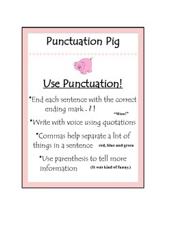 Beanie Baby Writing Strategy Punctuation Pig