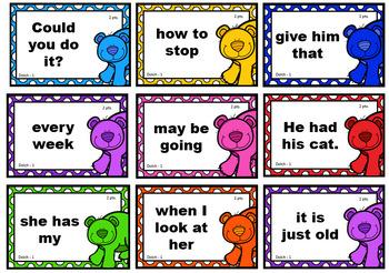 Bear Bear Roar 2nd Grade Sight Words Card Game