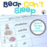 Bear Can't Sleep Speech and Language Therapy Book Companion
