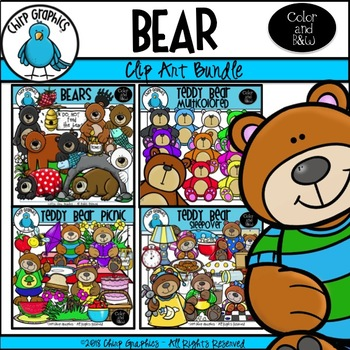 Bear Clip Art Multi-Pack Set - Chirp Graphics