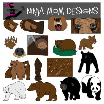 Bear Clip Art in Color and Black Line