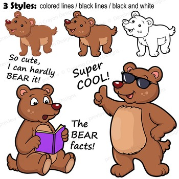 Bear Clipart with Signs - Letter B in Alphabet Animal Series