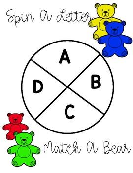 Bear Counter Letter Match and Beginning Sounds