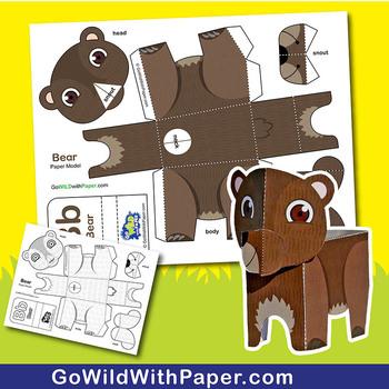 Bear Craft Activity   3D Paper Model