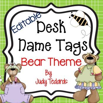 Bear Desk Name Tags...Editable