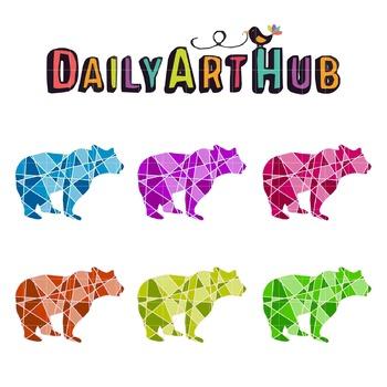 Bear Geometrical line art Clip Art - Great for Art Class Projects!