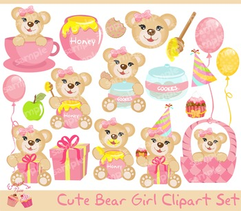 Bear Girl Clipart Set
