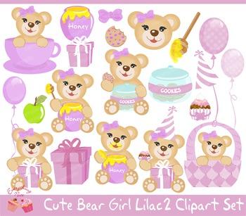 Bear Girl Lilac 2 Clipart Set