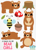 Bear Girls Clipart, Instant Download  Vector Art, Commercial Use Clip Art, Cute