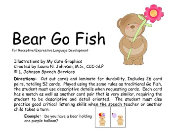 Bear Go Fish for Expressive Language Development
