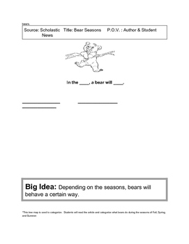 Bear Graphic Organizer