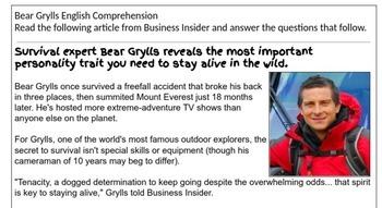 Bear Grylls Comprehension
