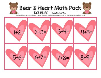 Bear & Heart Math Facts - Doubles Plus One