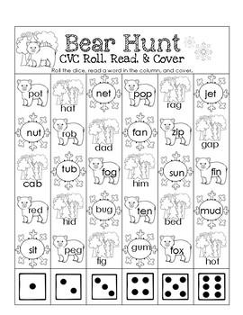 Bear Hunt CVC Roll, Read, and Cover