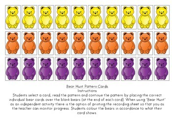 Bear Hunt Pattern Cards