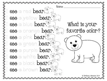 Bear Literacy and Math Centers