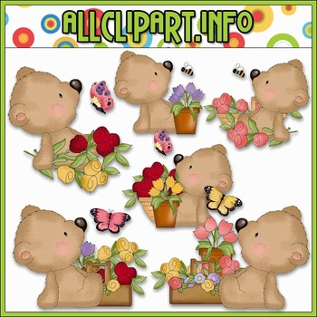 Bear Loves Flowers Clip Art - Cheryl Seslar Clip Art
