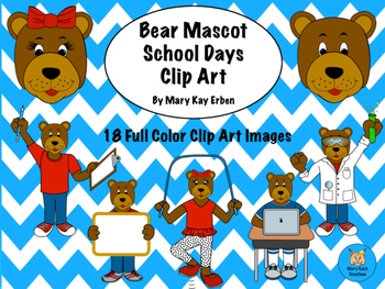 Bear Mascot School Days Clip Art