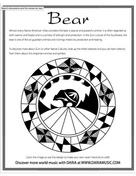 Bear - Native American Symbol - Free Coloring Page by World ...