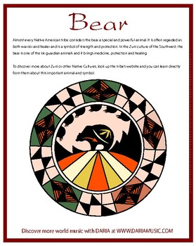 Bear - Native American Symbol Mini-Poster and Coloring Page ...