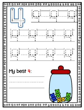 Bear Number Writing to 10--Dry Erase Handwriting Cards for Your PK-1 Class