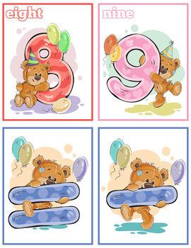 Bear Numbers Flash Cards (0-9); Kindergarten; Preschool; Homeschool; Math
