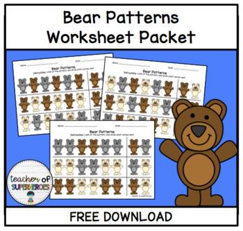 Bear Patterns (AB, AABB, ABC) Activities Packet - No Prep