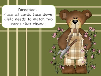 Bear Rhyming Memory Game