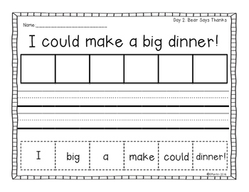 Bear Says Thanks: A Primary Mentor Sentence Unit Freebie