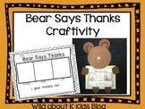 Bear Says Thanks Craftivity