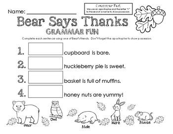 Bear Says Thanks Grammar Fun - Apostrophes Show Possession