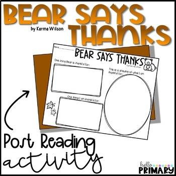 Bear Says Thanks: Reading Response Activity