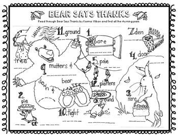Bear Says Thanks Rhyming Pairs (Thanksgiving Series)