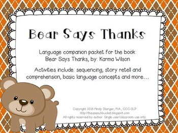Bear Says Thanks – Speech and Language Activities (Thanksgiving Book Companion)