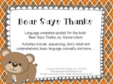 Bear Says Thanks – Speech and Language Activities (Thanksg
