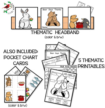 Bear Says Thanks-Thanksgiving Story -Literacy Centers for Emergent Readers