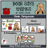 Bear Says Thanks Literacy Centers for Emergent Readers Thanksgiving Connection