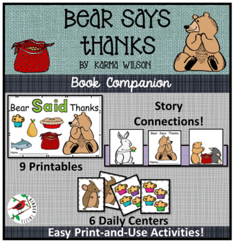 Bear Says Thanks-Thanksgiving Story -Literacy Centers for